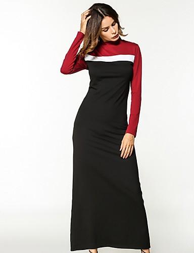Damen Hülle Kleid-Lässig/Alltäglich Einfarbig Rundhalsausschnitt Knielang Langärmelige Baumwolle Alle Jahreszeiten Mittlere Hüfthöhe