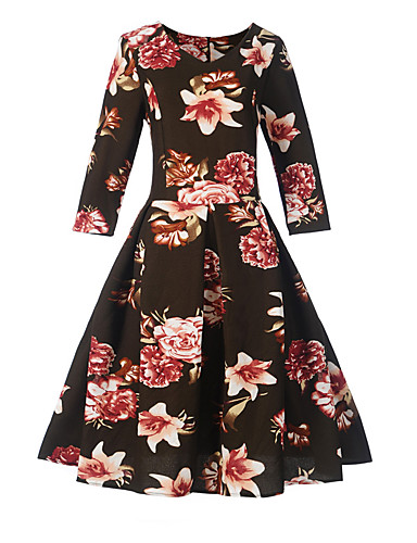 Damen Hülle Swing Kleid-Festtage Lässig/Alltäglich Arbeit Blumen Rundhalsausschnitt Knielang 3/4 Ärmel Baumwolle Polyester Hohe Hüfthöhe
