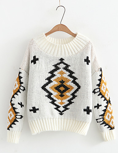 Damen Standard Pullover-Lässig/Alltäglich Geometrisch Einfarbig Rundhalsausschnitt Langarm Andere Mittel Dick Mikro-elastisch