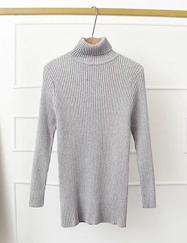 Damen Standard Pullover-Ausgehen Lässig/Alltäglich Solide Rollkragen Langarm Baumwolle Andere Mittel Dick Mikro-elastisch
