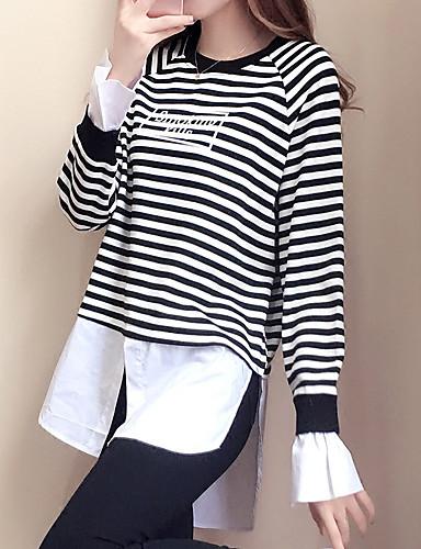 Damen Pullover Gestreift / Einfarbig Baumwolle