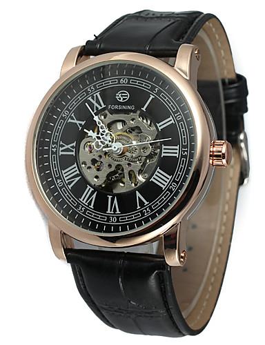 FORSINING Męskie Nakręcanie automatyczne Zegarek na nadgarstek Na codzień Skóra Pasmo Na co dzień Modny Nowoczesne Czarny
