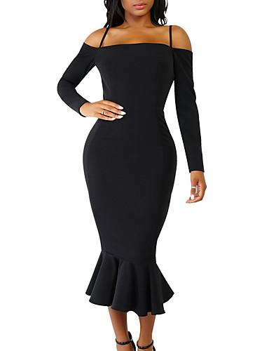 Damen Alltag / Ausgehen Freizeit Aufflackern-Hülsen- Bodycon Kleid - Rüsche, Solide Volle Länge Gurt