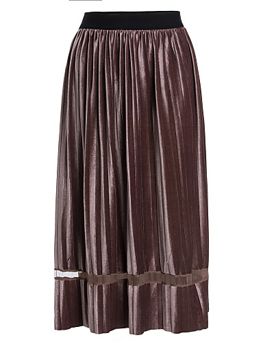 Damskie Bawełna Swing Spódnice Solidne kolory Koronka