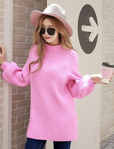 Недорогие Распродажа лучших свитеров-Жен. На выход Активный Фонарь рукавом Пуловер - Однотонный, Вязанная Хомут