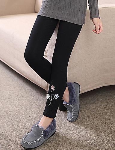 Spodnie Bawełna Dla dziewczynek Jendolity kolor Żakard Rysunek Zima Jesień Urocza Na co dzień Aktywny Kreskówka Black Navy Blue Gray