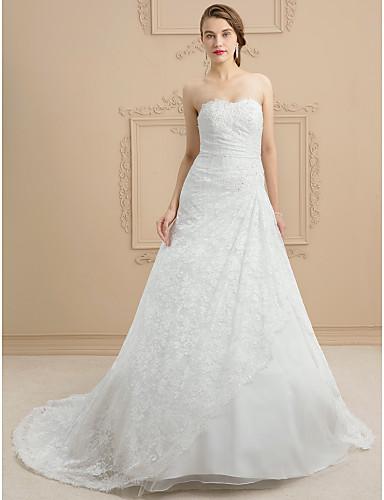 A-vonalú Szív-alakú Udvari uszály Csipke Tüll Egyéni esküvői ruhák val vel Gyöngydíszítés Rátétek által LAN TING BRIDE®