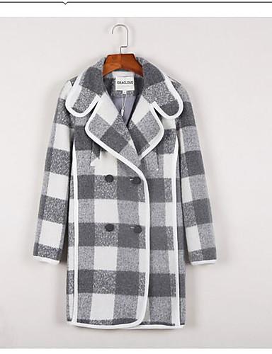 Damen Einfarbig Anspruchsvoll Alltag Kolani,V-Ausschnitt Winter Herbst Langarm Lang Baumwolle Polyester