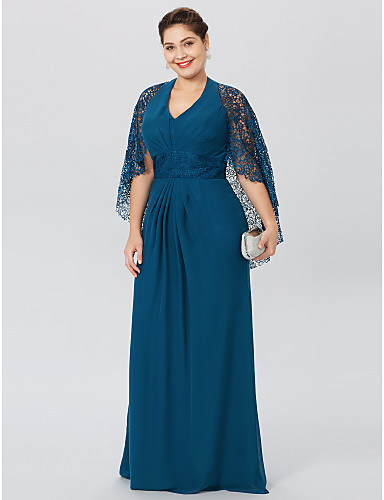 Plus Size Sheath / Column Halter Floor Length Chiffon Corded Lace Mother of the Bride Dress with Beading Pleats by LAN TING BRIDE®