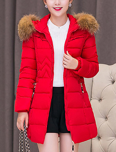 Women's Long Padded Coat,Vintage Cute Casual Daily Going out Plus Size Solid-Cotton Polyester Cotton Polypropylene Long Sleeves
