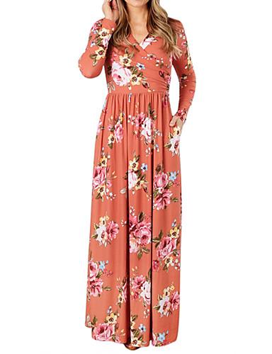 Damen Hülle Kleid - Druck Maxi V-Ausschnitt Tiefe Hüfthöhe