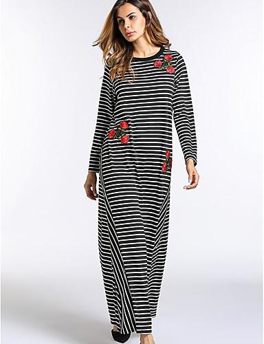 Damen Lose Kleid-Arbeit Gestreift Rundhalsausschnitt Maxi Langärmelige Polyester Herbst Mittlere Hüfthöhe strenchy Undurchsichtig
