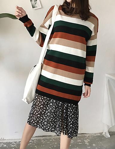 Damen Strickware Kleid-Lässig/Alltäglich Einfarbig Rundhalsausschnitt Knielang Übers Knie Langarm Acryl Mittlere Hüfthöhe Mikro-elastisch