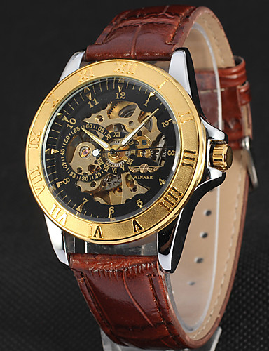 WINNER Men's Wrist Watch / Mechanical Watch Hollow Engraving / Cool Leather Band Luxury / Vintage / Casual Black / Automatic self-winding #06387051
