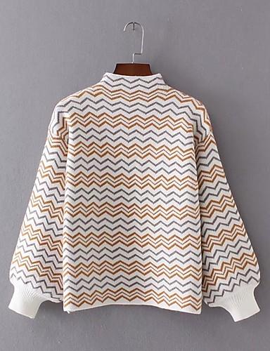 Damen Standard Pullover-Lässig/Alltäglich Gestreift Einfarbig Rollkragen Langarm Wolle Andere Dünn Dehnbar