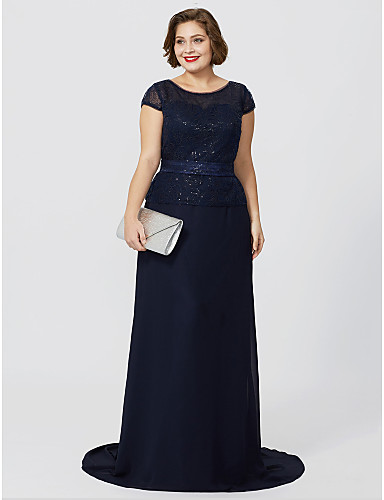 b52782bcd8 Plus Size A-Line Jewel Neck Floor Length Sweep   Brush Train Chiffon  Sequined Glitter Lace Mother of the Bride Dress with Sequin by LAN TING  BRIDE®