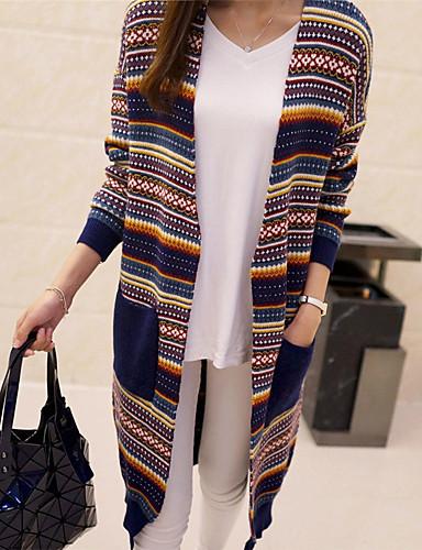 Damen Standard Strickjacke-Lässig/Alltäglich Gestreift V-Ausschnitt Langarm Baumwolle Winter Herbst Mittel Mikro-elastisch