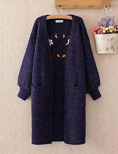 Damen Lang Strickjacke-Ausgehen Lässig/Alltäglich Solide V-Ausschnitt Langarm Baumwolle Andere Dünn Mittel Mikro-elastisch