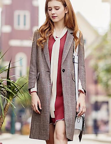 Damen Druck Einfach Lässig/Alltäglich Mantel,V-Ausschnitt Herbst Langarm Lang Polyester