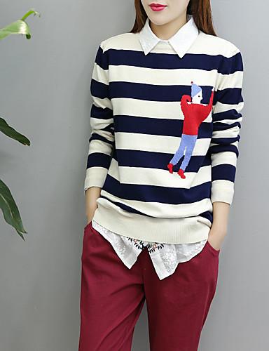 Damen Standard Pullover-Ausgehen Lässig/Alltäglich Gestreift Druck Rundhalsausschnitt Langarm Kaninchen-Pelz Baumwolle Andere Dünn Mittel