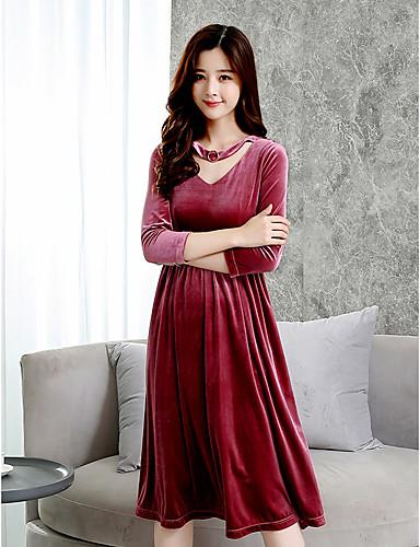 Damen A-Linie Hülle Kleid-Party Ausgehen Solide V-Ausschnitt Midi 3/4 Ärmel Baumwolle Hohe Taillenlinie Mikro-elastisch Mittel