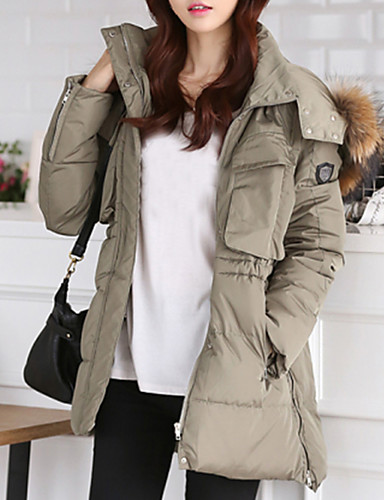 Women's Long Down Coat,Vintage Solid-Wool Polyester White Duck Down Long Sleeves Hooded