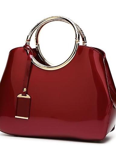povoljno Elegantne ženske torbice-Žene Patent-zatvarač Patent Leather Torba s ručkom Dark Blue / Fuksija / Lila-roza