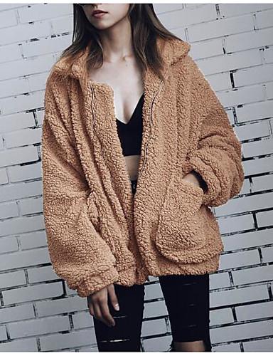 Damen Solide Einfach Lässig/Alltäglich Pelzmantel,Hemdkragen Winter Langarm Standard Polyester Andere