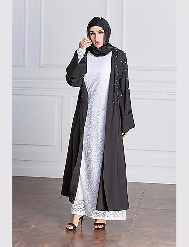 Damen Solide Einfach Party Abaya,V-Ausschnitt Frühling Herbst Langarm Maxi Polyester Perlenbesetzt