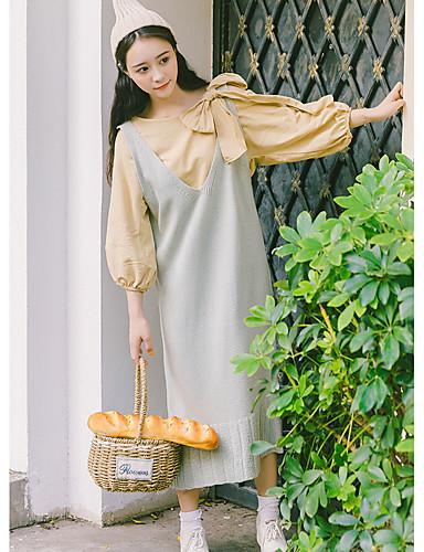 Damen Swing Kleid-Party Ausgehen Solide Rundhalsausschnitt Midi Langarm Baumwolle Hohe Taillenlinie Mikro-elastisch Mittel