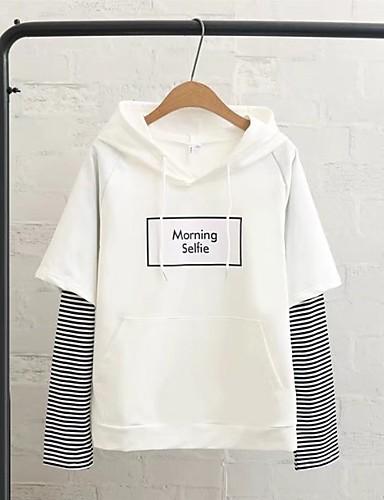 Damen Kapuzenshirt Ausgehen Lässig/Alltäglich Niedlich Aktiv Gestreift Buchstabe Mikro-elastisch Baumwolle Andere