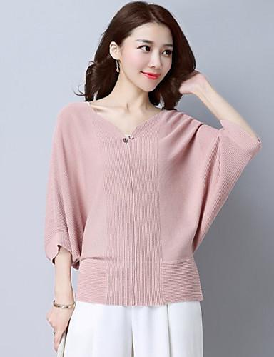 Damen Solide Alltag Anspruchsvoll Pullover 3/4 Ärmel V-Ausschnitt Baumwolle