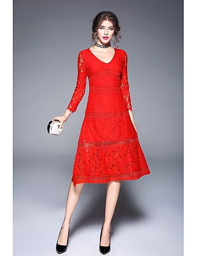Damen Hülle Swing Kleid-Ausgehen Lässig/Alltäglich Blumen V-Ausschnitt Maxi Langarm Polyester Mittlere Hüfthöhe Unelastisch Mittel