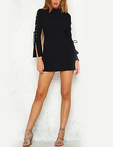 Damen Bodycon Kleid-Alltag Festtage Ausgehen Solide Rollkragen Mini Langarm Polyester Hohe Hüfthöhe Unelastisch Mittel