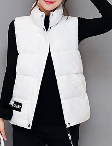 Damen Gefüttert Mantel Freizeit Alltag Ausgehen Solide Buchstabe-Polyester Ärmellos