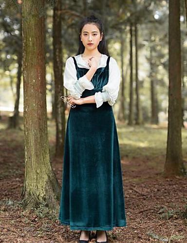 Damen Ausgehen Lässig/Alltäglich Einfach Hülle Swing Maxi Kleid Solide Gurt Langarm Baumwolle Herbst