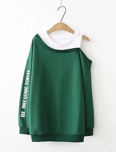 Damen Pullover Ausgehen Lässig/Alltäglich Niedlich Aktiv Druck Einfarbig Buchstabe Mikro-elastisch Baumwolle Andere