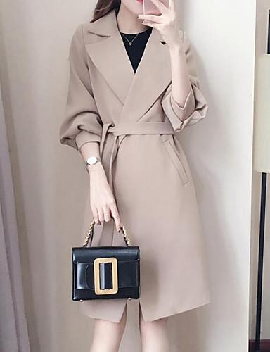 Płaszcz Długi Damskie Vintage Seksowny Moda miejska Zima Codzienny Praca Jendolity kolor Inne