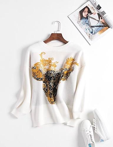 Damen Standard Pullover-Lässig/Alltäglich Druck Rundhalsausschnitt Langarm Andere Dünn Dehnbar