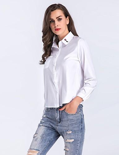 Damen Solide Retro Niedlich Sexy Ausgehen Lässig/Alltäglich Hemd,Hemdkragen Langarm Kunstseide Dünn