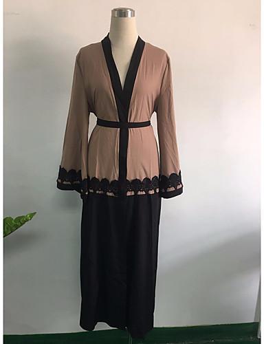 Damen Etuikleid Kleid-Lässig/Alltäglich Einfarbig V-Ausschnitt Maxi Langarm Andere Ganzjährig Hohe Taillenlinie Unelastisch Mittel