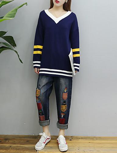 Damen Standard Pullover-Ausgehen Lässig/Alltäglich Gestreift Einfarbig V-Ausschnitt Langarm Baumwolle Andere Dünn Mittel Mikro-elastisch