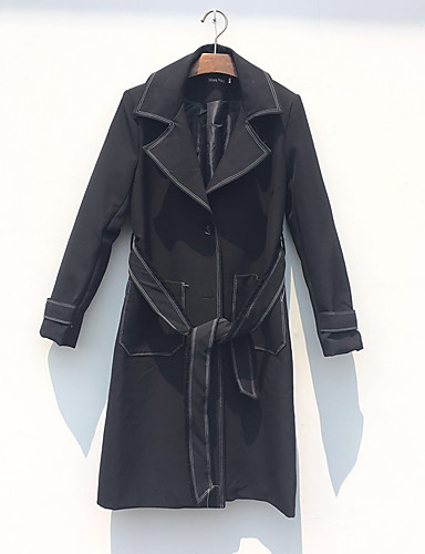 Damen Solide Einfach Lässig/Alltäglich Mantel Herbst Winter Langarm Lang Polyester