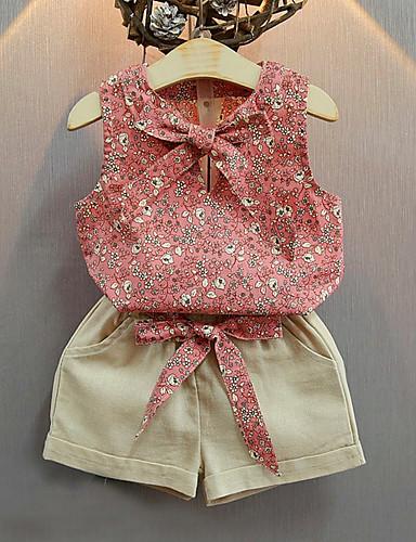 Mädchen Sets Einfache Vintage Print Baumwolle Acryl Elasthan Ganzjährig Ärmellos Kleidungs Set