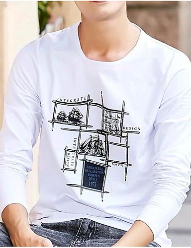 T-shirt Męskie Okrągły dekolt Jendolity kolor Bawełna