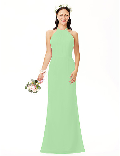 9a86b6437327 A tubino Con decorazione gioiello Lungo Chiffon Vestito da damigella con A  pieghe di LAN TING BRIDE®