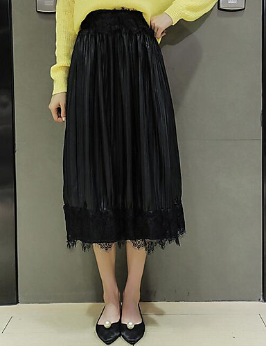 Damen Street Schick Lässig/Alltäglich Midi Röcke einfarbig Herbst