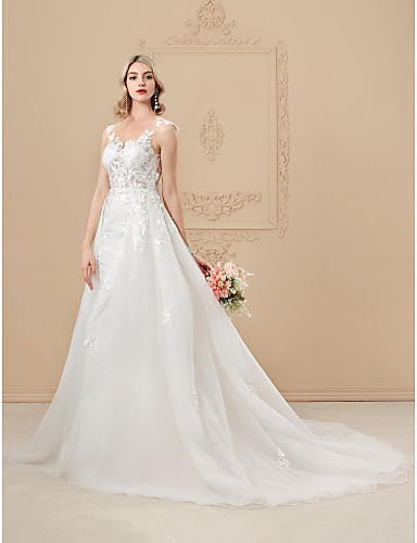 c4957fff9cb0 A-Line Jewel Neck Chapel Train Satin   Tulle Over Lace Made-To-Measure  Wedding Dresses with Appliques   Buttons by LAN TING BRIDE®   See-Through    Beautiful ...
