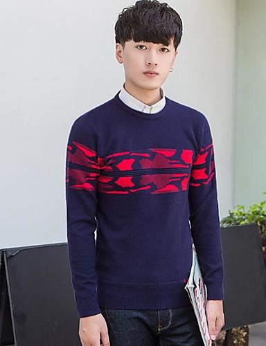 Herren Standard Pullover-Lässig/Alltäglich Einfarbig Rundhalsausschnitt Langarm Kunstseide Mittel Mikro-elastisch