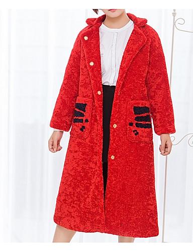 Damen Solide Street Schick Lässig/Alltäglich Mantel,V-Ausschnitt Winter Langarm Lang Polyester